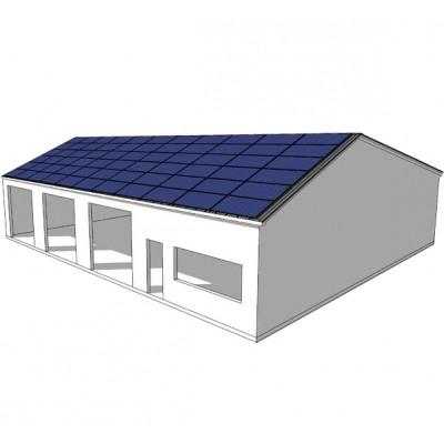 50 kW saulės elekrinė ant metalinio angaro stogo