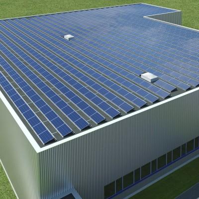 Saulės elektrinė ant plokščio stogo